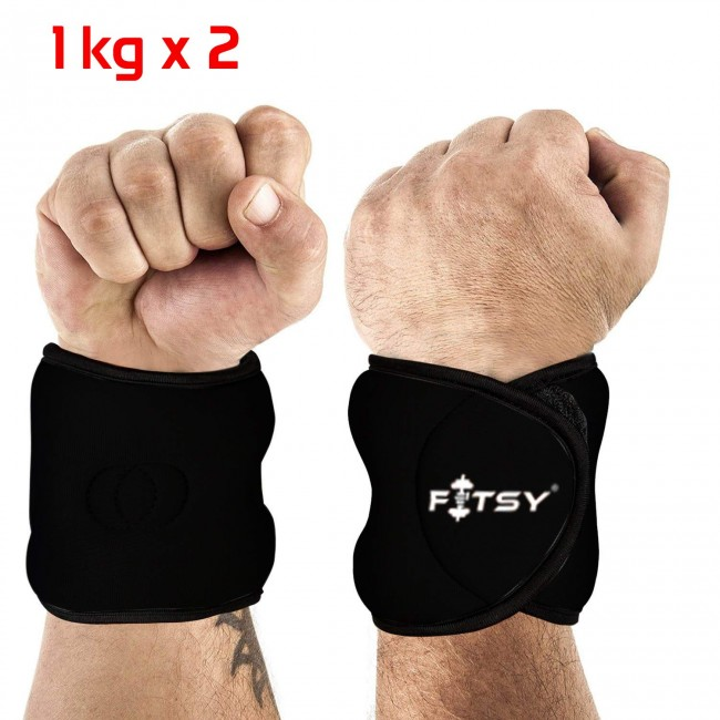 FITSY Adjustable Exercise Wrist Weights - 1 Kg x 1 Pair