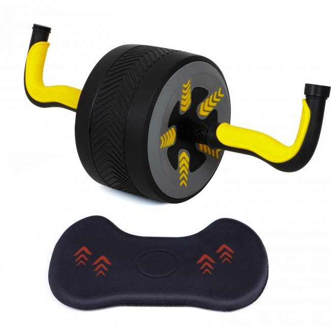 FITSY Automatic Rebound Design 2 in 1 Ab Roller Cum Kettlebell with Knee Mat