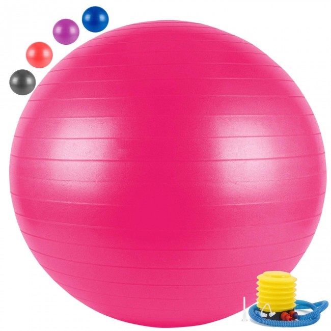 FITSY Yoga Exercise Gym Ball with Foot Pump, 65 cm