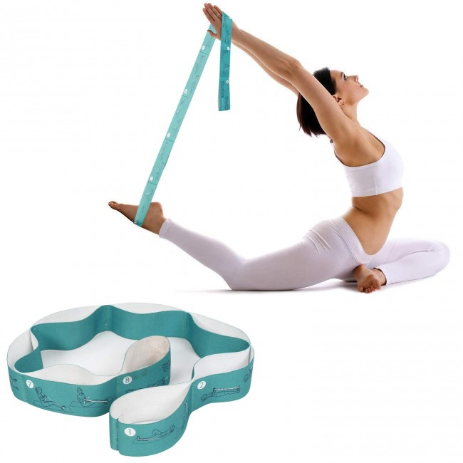 FITSY Elastic Stretching Strap for Yoga with 8 loops - Blue Color