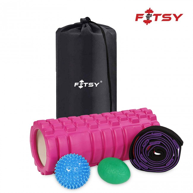 FITSY® 4-in-1 Grid Foam Roller Set – Yoga Belt Strap, Massage Ball and Lacrosse Exercise Ball