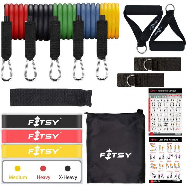 FITSY 16PCS Resistance Bands Set for Exercise, 5 Stackable Exercise Toning Tube with 2 Handles, 3 Resistance Loop Bands, 1 Carry Bag, 2 Ankle Straps, 1 Door Anchor & 2 Workout Charts