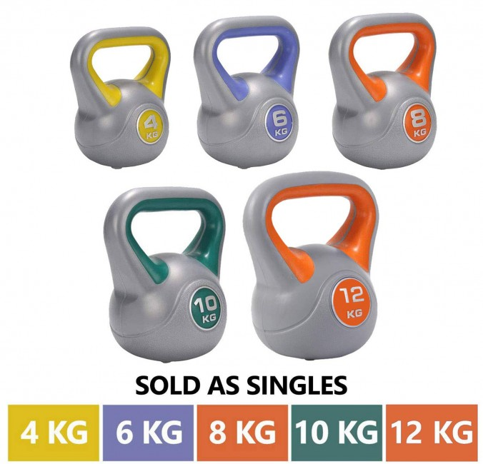 FITSY PVC Kettlebell Dumbbells with Vinyl Coating - 4 Kg