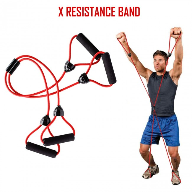 FITSY X Resistance Tube - Full Body Exercise Resistance Bands for Men & Women, Red