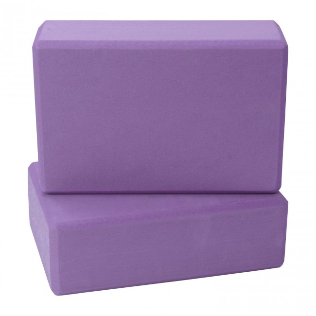 FITSY High Density Yoga Block Brick Made of Foam: Set of 2 - Purple Color