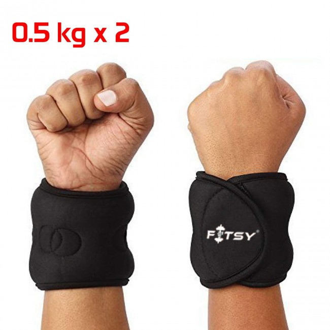 FITSY Adjustable Exercise Wrist Weights - 0.5 Kg x 1 Pair