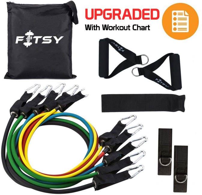 FITSY® Resistance Bands Set of 9 Pcs - Includes 5 Exercise Tubes, 1 Set Ankle Straps, 1 Door Anchor, 1 Set Handles & 1 Pouch