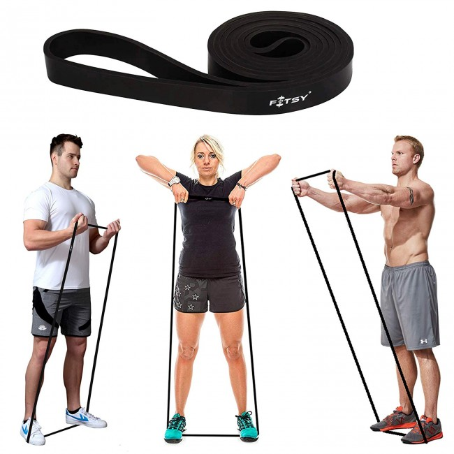 FITSY Resistance Band - Loops | Exercise Band - for Warm Ups & Body Stretching - Black Color