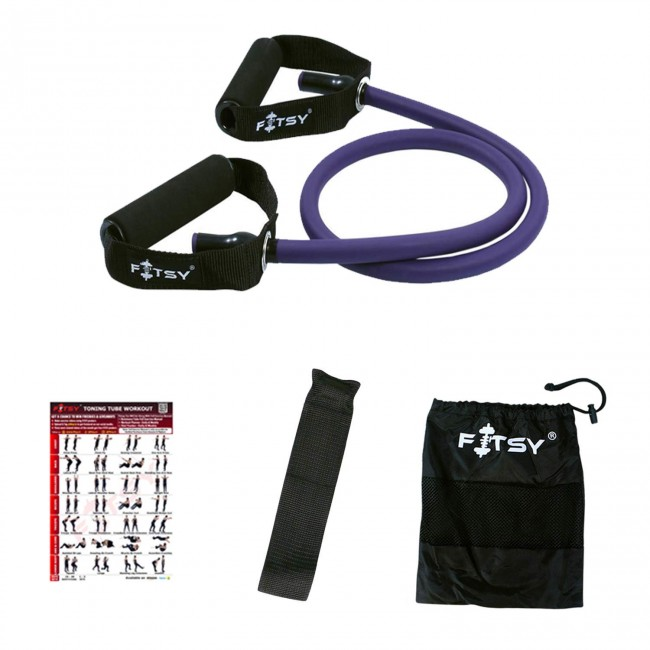 FITSY Resistance Toning Tube for Total Body Workouts - Purple (50 - 55 LB)