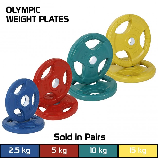 FITSY Rubber Coated Cast Iron Olympic Weight Plates - 5Kg