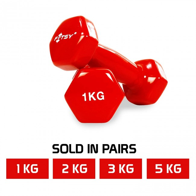 FITSY Vinyl Dumbbells For Men & Women: 1KG, 2KG, 3KG, 5KG - Red