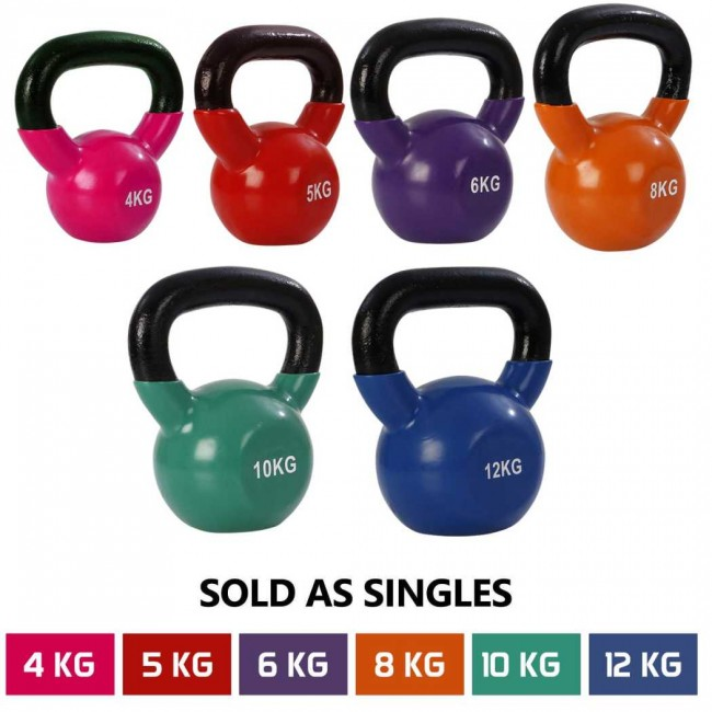 FITSY® Cast Iron Vinyl Coated Kettlebell - 5KG - Red