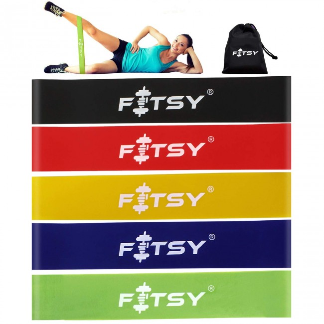 FITSY 12 Inch Exercise Resistance Loop Bands - Set of 5 With Carry Pouch