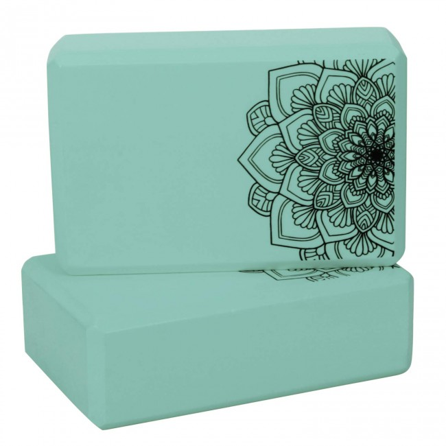 FITSY Moisture-Proof High Density Foam Yoga Block Brick, Green Pack of 2