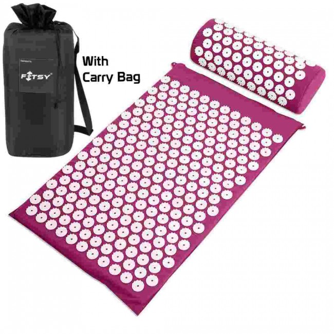 FITSY® Acupressure Mat & Pillow Set With Carry Bag - Purple Color