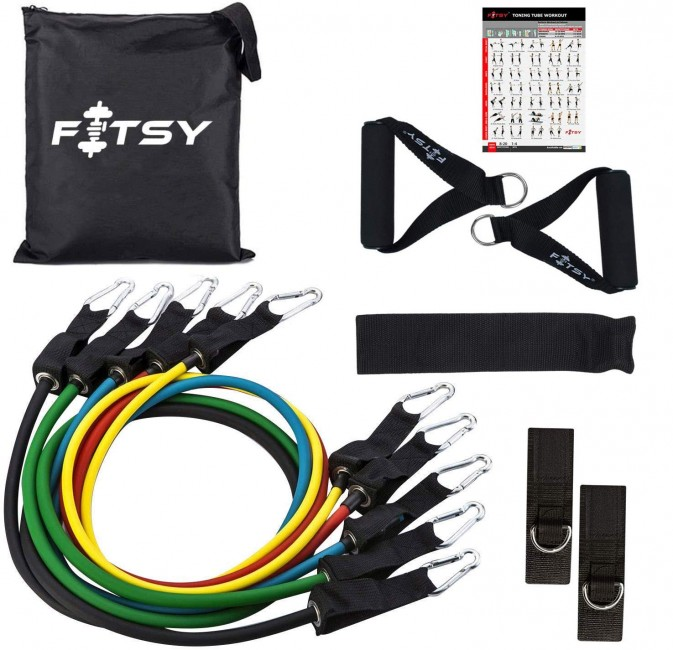 FITSY Resistance Bands Set of 9 Pcs - Includes 5 Exercise Tubes, 1 Set Ankle Straps, 1 Door Anchor, 1 Set Handles & 1 Pouch
