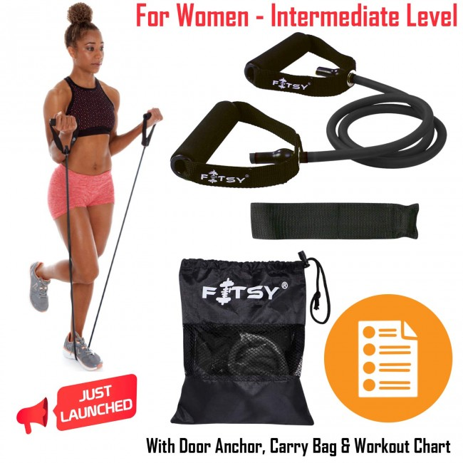 FITSY® Black Toning Tube - Resistance Band for Women - Intermediate Level