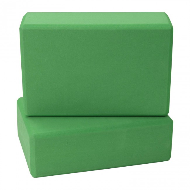 FITSY High Density Yoga Block Brick Made of Foam: Set of 2 - Green Color