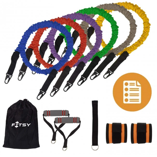 Fitsy 10 Pcs Resistance Bands Set - Includes 6 Exercise Tubes, 1 Door Anchor, 1 Pair of Ankle Straps and Handles each & 1 Bag