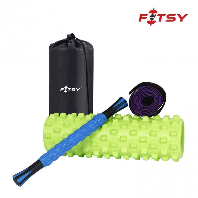 FITSY 3-in-1 Trigger Point Foam Roller Set - Muscle Rollers Set Includes Massage Roller Stick, Stretching Strap and Exercise Foam Roller