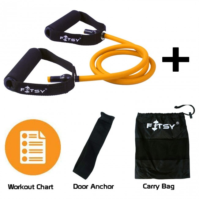 FITSY® Resistance Toning Tube for Workout. Bonus: A Carry Bag, a Door Anchor and a Workout Chart - Orange (40 - 45 LB)