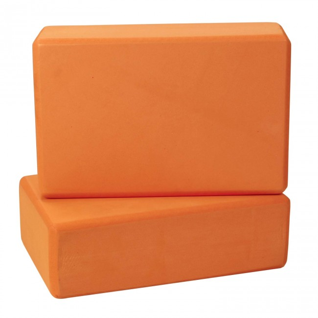 FITSY High Density Yoga Block Brick Made of Foam: Set of 2 - Orange Color
