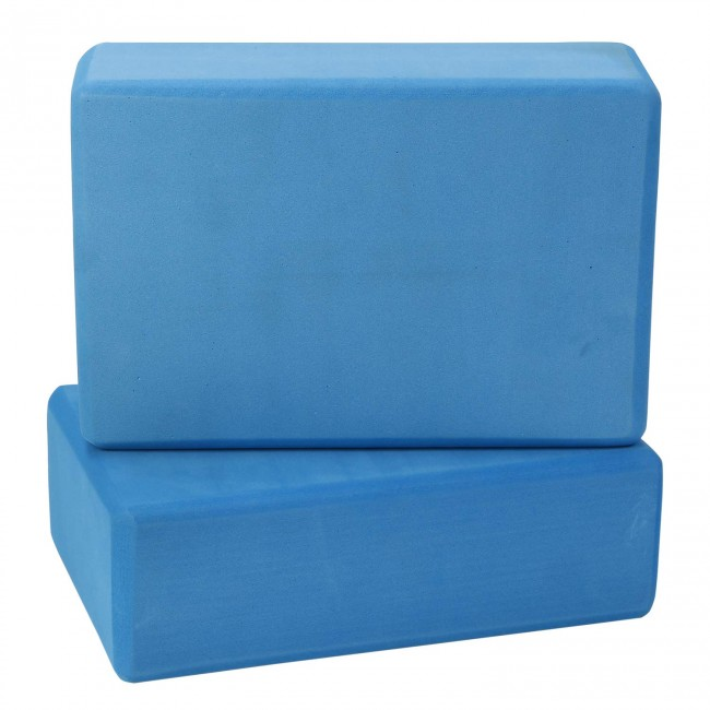 FITSY High Density Yoga Block Brick Made of Foam: Set of 2 - Blue Color