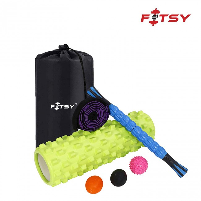 FITSY 6-in-1 Massage Roller Set – Massage Roller Stick, Stretching Strap, Spikey Ball and Lacrosse Exercise Ball