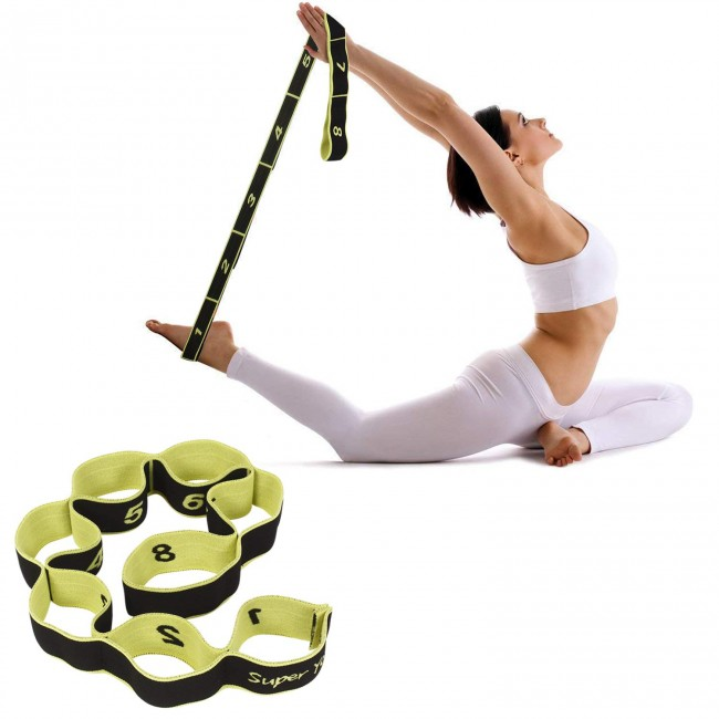 FITSY Elastic Stretching Strap for Yoga with 8 loops - Black Color