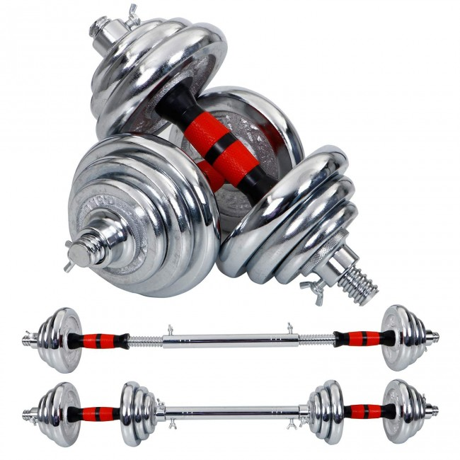 FITSY Adjustable Chrome Plated Iron Dumbbell Set with Extension Barbell Rod - 20 kg