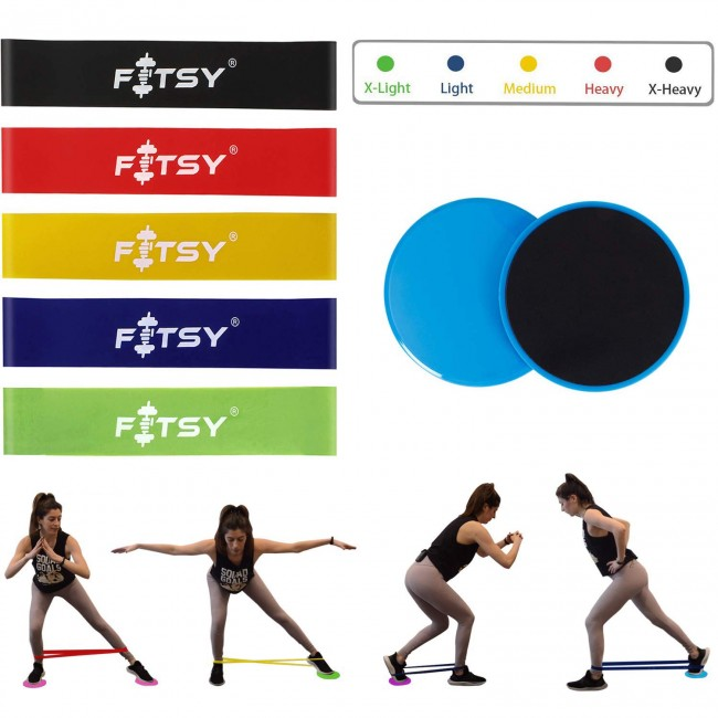 FITSY Core Resistance Training Set Includes - 5 Resistance Loop Bands & 2 Core Gliding Disc