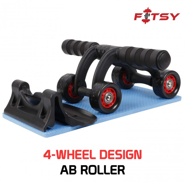 FITSY Upgraded 4-Wheel Ab Roller With Knee Mat And Floor Wedge