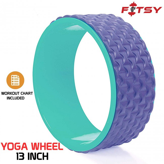 FITSY® 13 Inch Yoga Wheel with Workout Chart, Improved Design