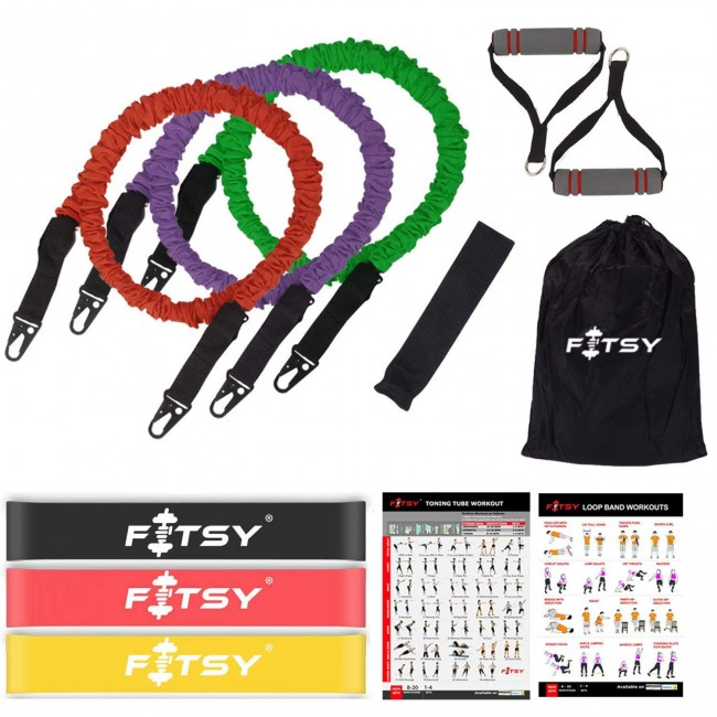 FITSY Complete Resistance Bands Set - Includes 3 Stackable Exercise Toning Tubes, 3 Resistance Loop Bands, 1 Carry Bag, 1 Door Anchor & 2 Home Gym Workout Charts