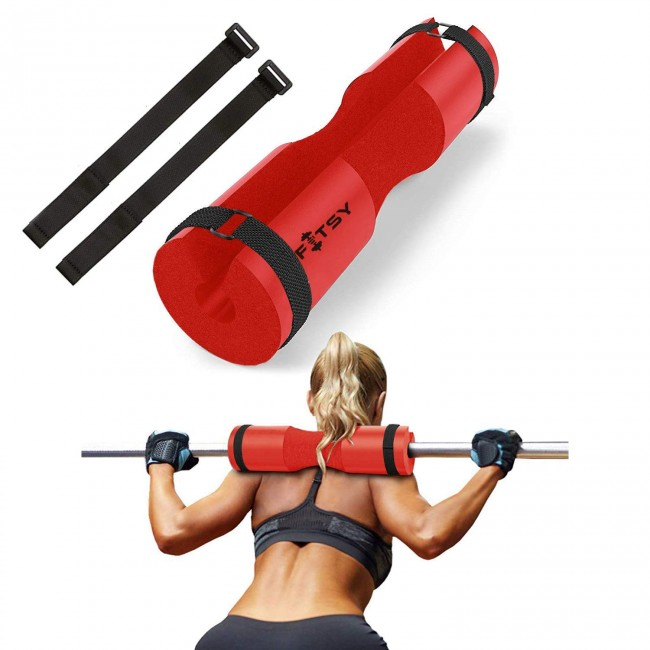 FITSY® Barbell Squat Pad suitable for Standard and Olympic Bar with 2 Straps - Red Color