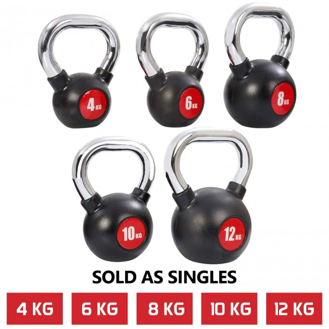 FITSY® Chrome Plated Rubber Coated Kettlebell Dumbbell - 4KG