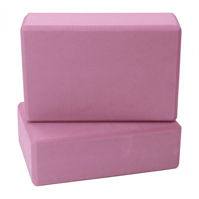FITSY High Density Yoga Block Brick Made of Foam: Set of 2 - Pink Color