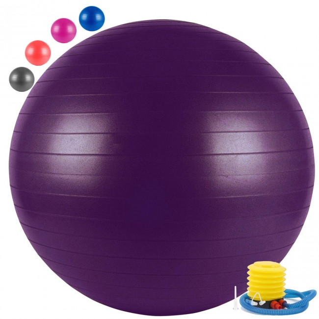 FITSY Anti-Burst Yoga Exercise Gym Ball with Foot Pump, 75 cm