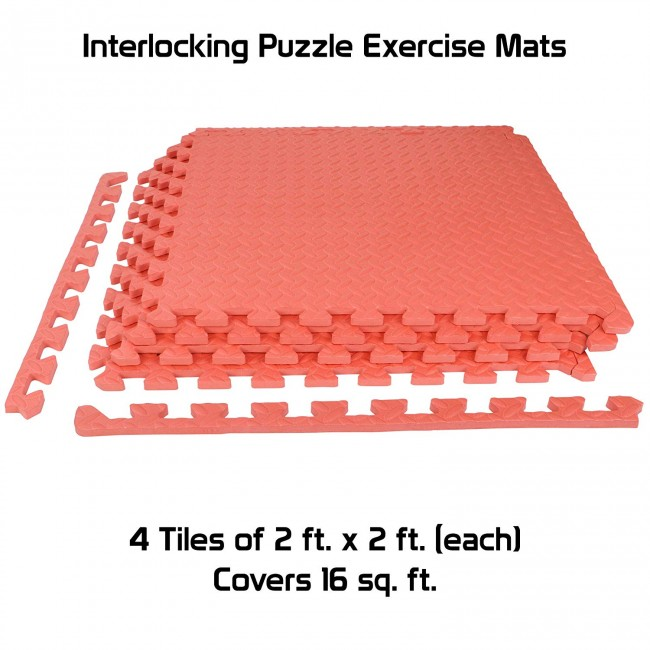 FITSY® Interlocking Puzzle Exercise Mats 12mm Thick - 2 ft. x 2 ft. per Tile - 4 Tiles - 16 sq. ft. - Red