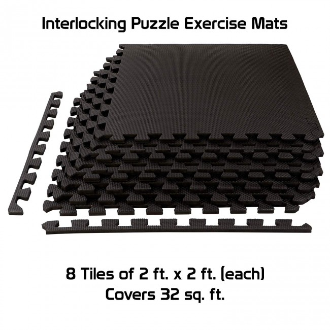 FITSY® Interlocking Puzzle Exercise Mats 12mm Thick - 2 ft. x 2 ft. per Tile - 8 Tiles - 32 sq. ft. - Black