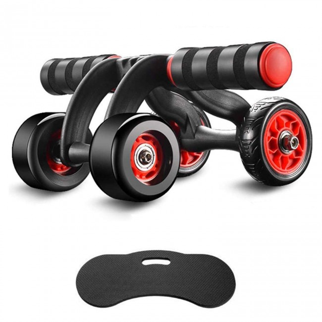 FITSY Automatic Rebound Design 4 Wheel Ab Roller with Knee Mat