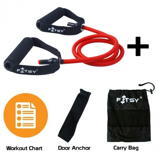 FITSY® Resistance Toning Tube for workout. Bonus: A Carry Bag, a Door Anchor and a Workout Chart - Red (30 - 35 LB)