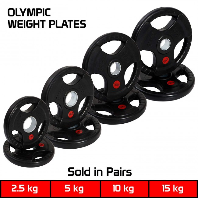 FITSY® Rubber Coated Cast Iron Olympic Weight Plates - 5Kg x 1 Pair
