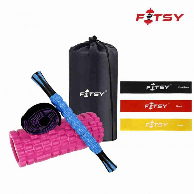 FITSY 6-in-1 Foam Roller Set – Resistance Bands, Massage Roller Stick, Yoga Strap and Exercise Foam Roller