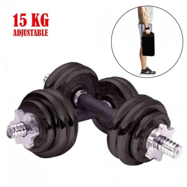 A complete set of cast iron adjustable dumbbells - 15 KG Set