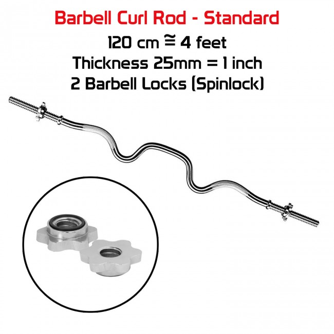 FITSY® 4 Feet Standard Super Curl Barbell Rod with Spinlocks - 25 mm (Imported)