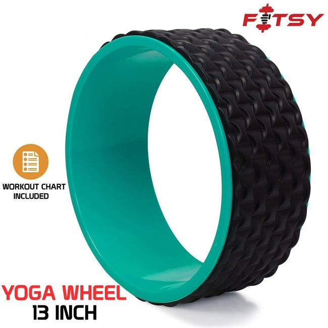 FITSY 13 Inch Yoga Wheel with Workout Chart, Improved Design