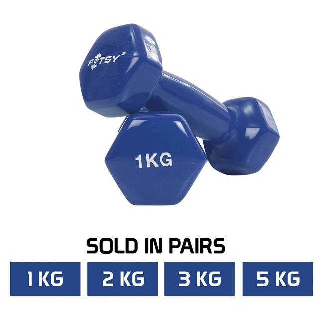 FITSY Vinyl Dumbbells for Men & Women: 1KG, 2KG, 3KG, 5KG - Blue