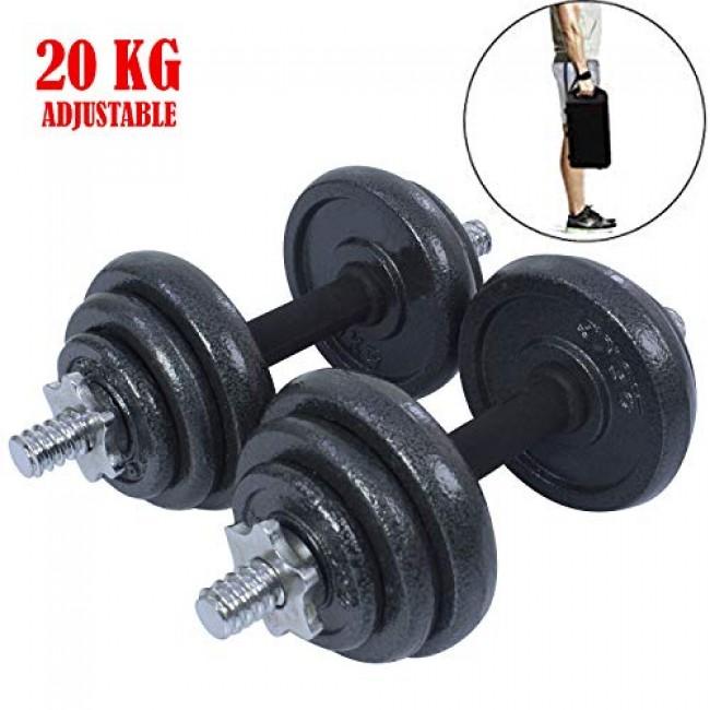 A complete set of cast iron adjustable dumbbells - 20 KG Set