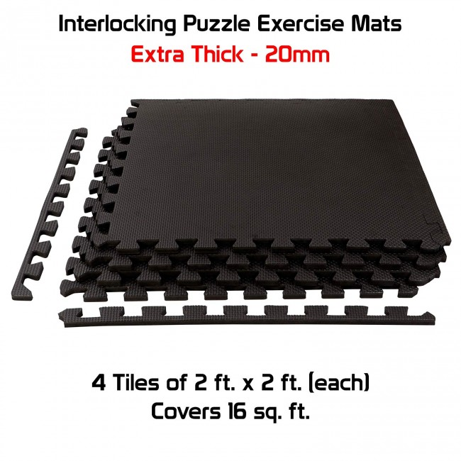 FITSY® Interlocking Puzzle Exercise Mats 20mm Thick - 2 ft. x 2 ft. per Tile - 4 Tiles - 16 sq. ft. - Black